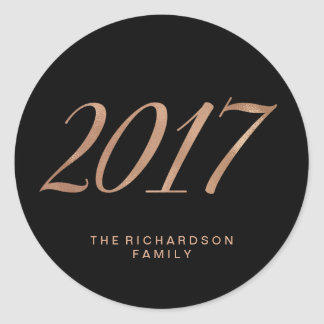 Glam Faux Rose Gold on Black 2017 Round Sticker