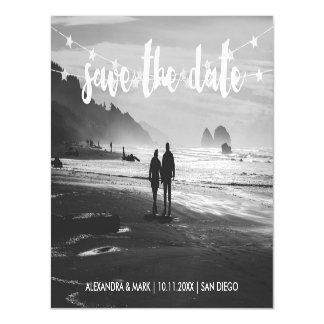 Glam Garland of Stars Photo Wedding Save the Date Magnetic Card