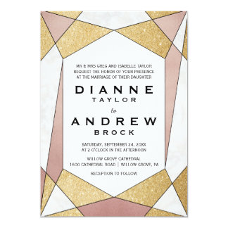 Glam Geometric Diamond Formal Wedding Card