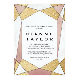 Glam Geometric Diamond Lingerie Shower Card