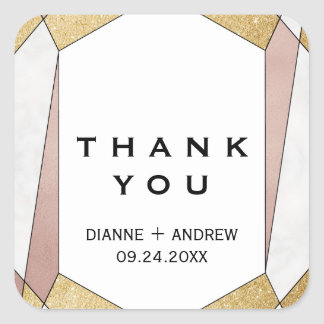 Glam Geometric Diamond Thank You Favor Square Sticker