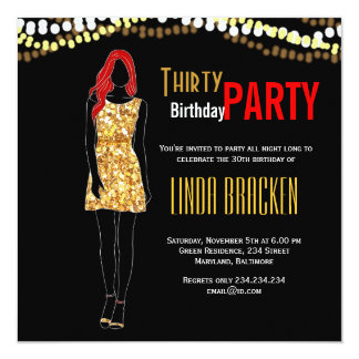Glam Girl Dress Lights Thirty Birthday Party Card