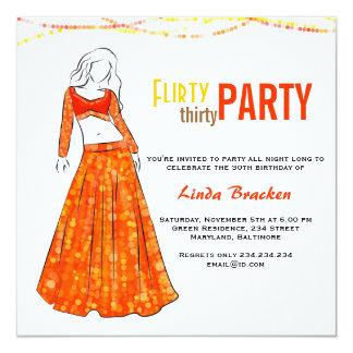 Glam Girl Orange Skirt Flirty Thirty Party 13 Cm X 13 Cm Square Invitation Card