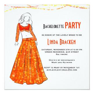 Glam Girl Orange Skirt Lights Bachelorette Invite