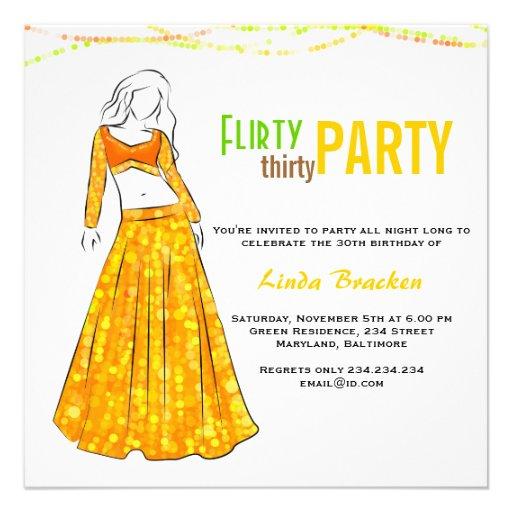 Glam Girl Yellow Skirt Flirty Thirty Party Invitations