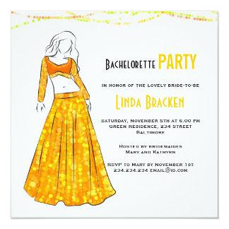 Glam Girl Yellow Skirt Lights Bachelorette Invite