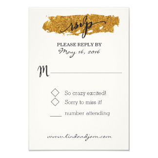 Glam Glitter Black and White Floral RSVP Card