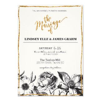 Glam Glitter Black and White Floral Wedding Invite