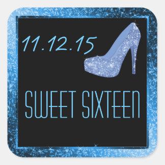 Glam Glitter High Heels Blue Sweet Sixteen Party Sticker