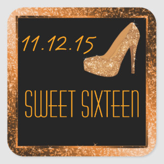 Glam Glitter High Heels Gold Sweet Sixteen Party Square Sticker