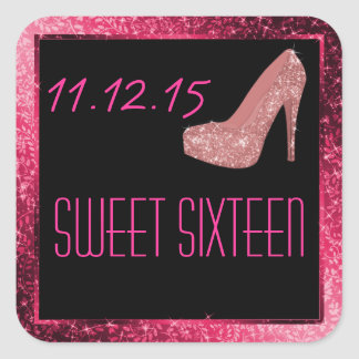 Glam Glitter High Heels Pink Sweet Sixteen Party Square Stickers