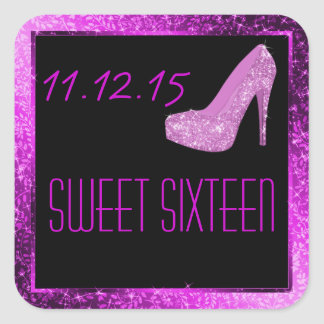 Glam Glitter High Heels Purple Sweet Sixteen Party Stickers