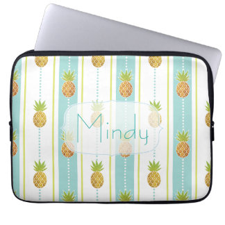 Glam Glitter Tropical Pineapple & Stripes and Dots Laptop Sleeve