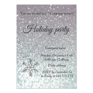 Glam glittery snowflake company holiday party card