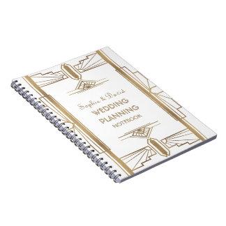 Glam Gold 1920's Great Gatsby Art Wedding Planner Notebooks