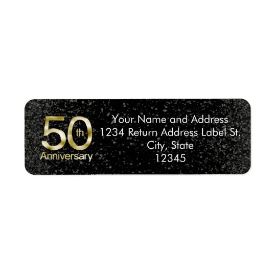 Glam Gold 50th Anniversary Return Address Label