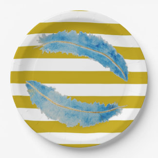 Glam Gold and Feathers Plates