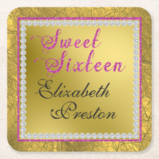 Glam Gold and Pink Glitter Sweet 16 Birthday Square Paper Coaster