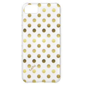 Glam Gold and White Polka Dot iPhone 5C Case