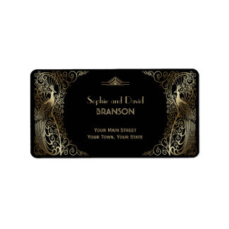 Glam Gold Art Deco Peacocks Wedding Label