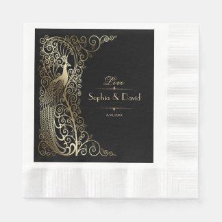 Glam Gold Art Deco Peacocks Wedding Paper Napkin