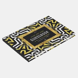 Glam Gold Black Geometric Pattern V4 Graduation Guest Book
