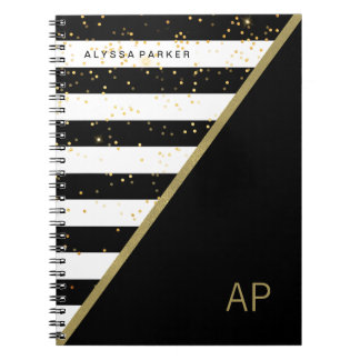 Glam Gold Confetti and Black and White Stripes Spiral Notebook