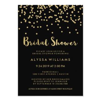 Glam Gold Confetti Bridal Shower on Black Card
