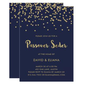 Glam Gold Confetti Passover Seder Invitation