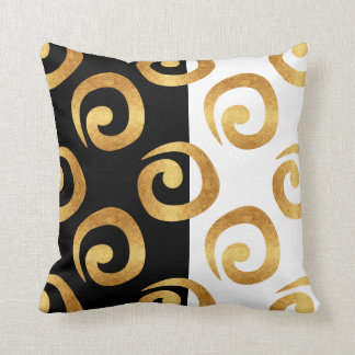 Glam Gold Curls on Black and White Cushion
