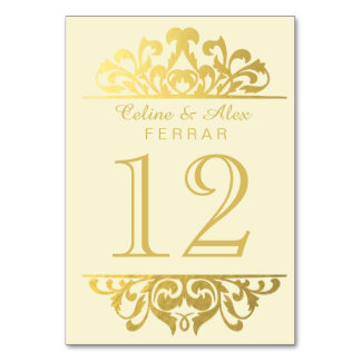 Glam Gold Foil Flourish Table Numbers | ivory gold