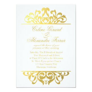Glam Gold Foil Flourish Wedding | white gold 13 Cm X 18 Cm Invitation Card