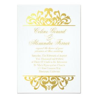 Glam Gold Foil Flourish Wedding   white gold 13 Cm X 18 Cm Invitation Card