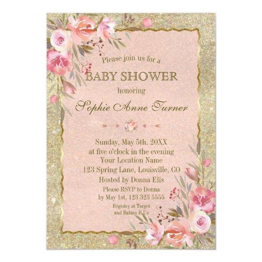 Glam Gold Glitter Blush Floral Baby Shower Card