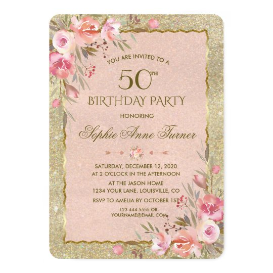 Glam Gold Glitter Blush Floral Birthday Party Card