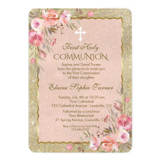 Glam Gold Glitter Blush Floral First Communion Card