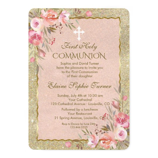 Glam Gold Glitter Blush Floral First Communion Card