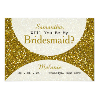Glam Gold Glitter Bridesmaid Card