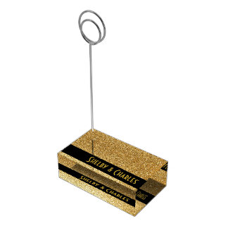 Glam Gold Glitter Custom Table Card Holder
