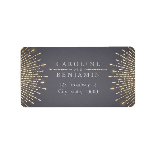 Glam gold glitter deco vintage return address address label