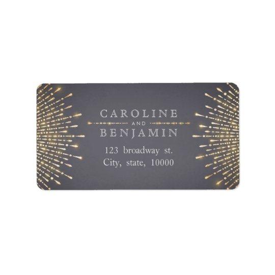Glam gold glitter deco vintage return address label