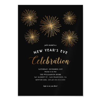 Glam Gold Glitter Fireworks New Year's Eve Party Magnetic Card