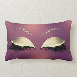 Glam Gold Glitter Glam Makeup Lashes Copper Lumbar Cushion