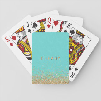 Glam Gold Glitter Ombre Tiffany Blue Damask Custom Playing Cards
