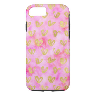 Glam Gold Hearts Girly Pink Watercolor iPhone 8/7 Case