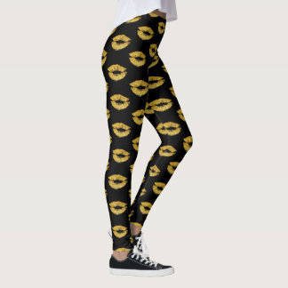 Glam gold lips print on black makeup artist salon leggings