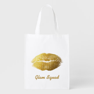 Glam Gold Lips Reusable Grocery Bag