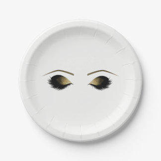 Glam Gold Makeup Eyelashes Personalized Beauty Paper Plate