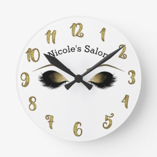 Glam Gold Makeup Eyes & Lashes Personalized Round Clock