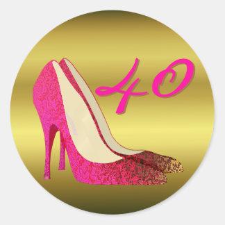 Glam Gold & Pink Stiletto Birthday Round Sticker